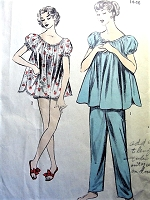 1950s LINGERIE Pattern ADVANCE 6973 CUTE Shortie Baby Doll Pajamas Sleepwear, Ladies PajamasMedium Size Vintage Sewing Pattern