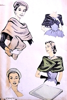 1950s CHIC Day or Evening Capes, Purse and Beret Hat Pattern ADVANCE 7828 Featured in Mademoiselle Magazine Vintage Sewing Pattern