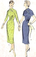 1950s LOVELY Asian Style Sheath Dress Pattern ADVANCE 7906 Very Slim Dress Day or Evening Bust 36 Vintage Sewing Pattern FACTORY FOLDED