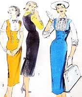 1950s SEDUCTIVE Slim Jumper Dress and Blouse Pattern ADVANCE 8245 Figure Molding Design Bust 36 Vintage Fifties Sewing Pattern