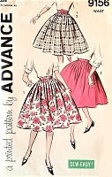 1950s Full Twirl Skirt Pattern ADVANCE 9156 Easy To Sew Two Figure Flattering Styles Waist 24 Vintage Sewing Pattern FACTORY FOLDED