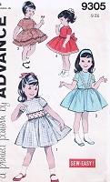 1960s ADORABLE Little Girls Dress Pattern ADVANCE 9305 Day or Party Dress 4 Styles Size 4 Vintage Sewing Pattern