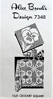1940s VINTAGE Pretty Pansy Flower Filet Crochet Square Mail Order Pattern 7348