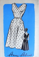 1950s TEMPTING V-Neck Dress with Pockets Anne Adams 4661 Bust 34 Vintage Sewing Pattern