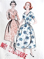 1950s BEAUTIFUL Evening Party Bouffant Dress Pattern BUTTERICK 8563 Lovely Wrap Around PETAL Skirt and PORTRAIT Collar Lovely Design Bust34 Vintage Sewing Pattern