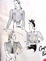 1940s FILM NOIR Gorgeous Blouses Pattern BUTTERICK 1193 Three Day or Evening Styles Bust 38 Vintage Sewing Pattern