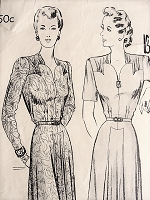 1940s ELEGANT Gown Vintage Butterick 2007 Sewing Pattern Bust 38