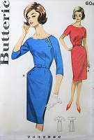 1960s EYECATCHING Slim Dress Pattern BUTTERICK 2174  Daytime or Cocktail Dress Bust 34 Vintage Sewing Pattern