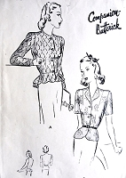 1940s STUNNING  Jacket Blouse  Pattern BUTTERICK 2301 Evening or Day Two Styles Peplum  Flattering Design Bust 36 Vintage Sewing Pattern