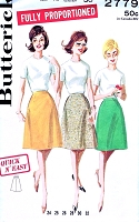 CUTE 1960s Flared Skirt Pattern Quick n Easy BUTTERICK 2779 Proportioned Cone Shape Skirt Waist 30 Vintage Sewing Pattern UNCUT