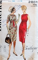 1960s CHIC Empire Waist Dress Butterick 2801 Bust 34 Vintage Sewing Pattern