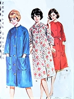 CLASSIC 1960s Robe Housecoat Pattern BUTTERICK 2887 Mandarin Collar Bathrobe Dressing Gown Bust 32 Vintage Sewing Pattern UNCUT
