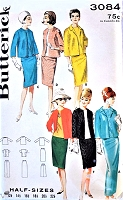 1960s CHANEL Style Jacket, Slim Skirt Regular or Evening Length, Overblouse Pattern BUTTERICK 3084 Day or Evening Classy Style Bust 37 Vintage Sewing Pattern UNCUT