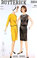 1960s CLASSY Slim Skirt Bloused Top Dress Pattern BUTTERICK 3251 Day or Cocktail Party Bust 36 Vintage Sewing Pattern UNCUT