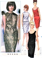 1960s BUTTERICK 3338 CLASSY Two Pc Evening Dress Pattern  Cocktail Party Slim Shell Blouse and Pencil Skirt Bust 36 Vintage Sewing Pattern UNCUT