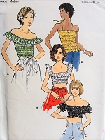 1970s FLIRTY Ruffled Top in Four Styles Butterick 3657 Bust 34-36 Retro Sewing Pattern