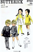 CUTE 1960s Butterick 3713 Pattern Little Girls Jumper Turtle Neck Dress Tights Stockings Size 6 Childrens Vintage Sewing Pattern UNCUT
