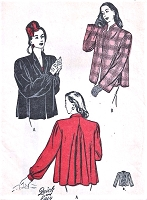 1940s FILM NOIR Flare Back Coat Jacket  Car Coat Pattern BUTTERICK 3890 Beautiful Two Sleeve Versions Quick and Easy to Make Bust 34 Vintage Sewing Pattern