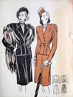 1940s ELEGANT Two Piece Suit Butterick 3926 Vintage Sewing Pattern Bust 30