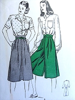 1940s DIVIDED Skirt Culottes and Blouse Pattern BUTTERICK 4041 Very Kate Hepburn Style Bust 34 Vintage Sewing Pattern