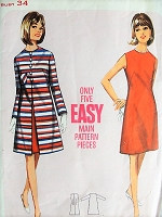 1960s MOD A-line Coat and Dress Butterick 4295 Bust 34 Retro Sewing Pattern