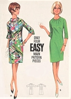 1960s MOD Sheath Dress  Pattern BUTTERICK 4312 Easy To Sew Shirred Neckline Slim or Bell Sleeves Bust 38 Vintage Sewing Pattern