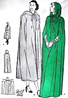 1940s BEAUTIFUL Cape Coat Attached Hood BUTTERICK 4366 Day or Evening Length Cloak 3 Style Versions Bust 38-40 Vintage Sewing Pattern FACTORY FOLDED