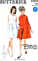 MOD 60s TENT Dress Pattern BUTTERICK 4404 Front Zip Flared Dress, Tiered Effect ,Standing Collar Bust 34 Vintage Sewing pattern UNCUT