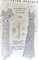 1930s ART DECO Glamorous Evening Gown Pattern Butterick 4438 Three Lengths Evening, Dinner or Formal Gown Dress, Bias Cut or Straight, Detachable Bertha Cape Collar Bust 38 Vintage Sewing Pattern