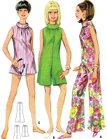 MOD 1960s Flared Jumpsuit Culotte Playsuit Pant Dress Pattern BUTTERICK 4474 Funnel Neck Romper or Patio Jumpsuit Bust 31 or 36 Vintage Sewing Pattern UNCUT