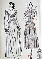 1940s GLAMOROUS Negligee House Coat Robe Lounging Hostess Gown Pattern BUTTERICK 4523 Two Lovely Styles Bust 30 Vintage Sewing Pattern