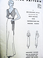 1930s SLINKY Art Deco NightGown Linerie Pattern BUTTERICK 4700 Deep V Neckline Bias or Staright Cut Bust 36 Beginners Vintage Sewing Pattern UNCUT