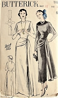1940s ELEGANT Evening Gown with Dolman Sleeves Butterick 5076 Bust 32