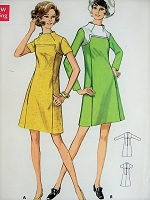 1960s MOD A-line Dress with Pockets Butterick 5577 Vintage Sewing Pattern Bust 34