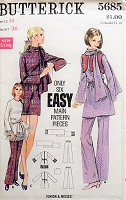 1960s FUNKY Dress or Tunic with Bell Sleeves, Scarf, Vest and Flared Pants Butterick 5685 Bust 36 Retro Sewing Pattern