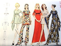 1960s MOD Mini or Maxi Dress Tunic Pants Pattern BUTTERICK 5752 Dramatic Medieval Sleeves Version Bust 34 Vintage Sewing Pattern UNCUT