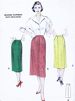 1950s SLEEK Slim Skirt Pattern Butterick 5858 Four or Five Gore Skirt Waist 30 Inch Vintage Sewing Pattern