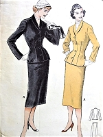 1950s SLEEK Slim Tailored Suit Pattern BUTTERICK Easy Evening or Day Suit For Gore Skirt Bust 36 Vintage Sewing Pattern