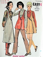1960s MOD A-line Jumper and Pants Butterick 5921 Vintage Sewing Pattern Bust 31
