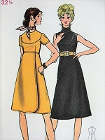 1960s MOD High Waisted Dress with Wrap Skirt Butterick 6050 Vintage Sewing Pattern Bust 32 1/2