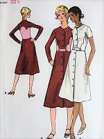 1960s RETRO Button Up A-line Dress Butterick 6051 Bust 32 1/2  Sewing Pattern
