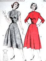 1950s Soft TAILORED Dress Pattern BUTTERICK 6129 Slit Neckline Four Gore Flared Skirt  Bust 32 Vintage Sewing Pattern