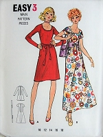 1960s MOD Flared Dress in Two Lengths Butterick 6147 Vintage Sewing Pattern Bust 32 1/2