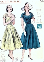 1950s PRETTY Swirl Skirt Dress Pattern BUTTERICK 6154 Sheer Overlay Cutaway Neckline Bust 32 Quick and Easy Vintage Sewing Pattern