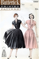 1950s DIOR Inspired Full Skirted Dress Pattern BUTTERICK 6300 Gorgeous Draped Bodice Full Luxurious Skirt Bust 32 Vintage Sewing Pattern