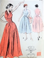 1950s FABULOUS Wraparound  Dress or Evening Gown Pattern BUTTERICK 6338 Figure Flattering Surplice Bodice Bust 34 Quick n Easy Vintage Sewing Pattern UNCUT