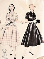 1950s LOVELY Button Up Dress Butterick 6503 Vintage Sewing Pattern Bust 30