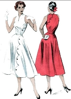 1950s GORGEOUS Dress Pattern BUTTERICK 6541 SCALLOPED Swirl Skirt Dress Back to Front Closure Bare Shoulders Look Day or Evening Bust 34 Vintage Sewing Pattern FACTORY FOLDED