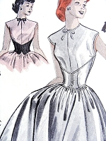 1950s CUTE Party Dress Pattern Easy To Sew BUTTERICK 6646 Rockabilly Style Waist Cincher Effect Bust 34 Vintage Sewing Pattern FACTORY FOLDED
