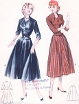 1950s LOVELY Nip Waisted Two Pc Dress Pattern BUTTERICK 6690 Figure Flattering Design Striking Neckline Bust 30 Vintage Sewing Pattern